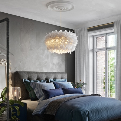 Feather Nest Shaped Hanging Light Nordic Style Suspended Lighting Fixture for Restaurant