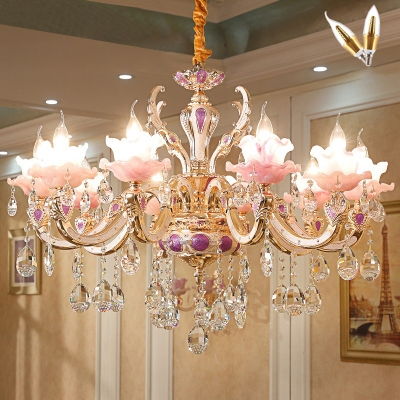 Pink Glass Flower Hanging Light Traditional Living Room Chandelier Lighting with Crystal Strand