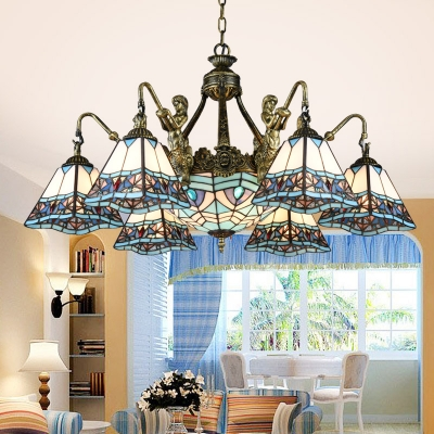 Bronze Mermaid Suspension Light Tiffany Metal Chandelier with Pyramid Stained Glass Shade