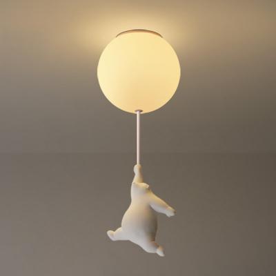 Cartoon 1-Light Ceiling Fixture White Bear and Balloon Flush Mount Light with Cream Glass Shade for Nursery