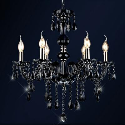 Crystal Black Chandelier Lighting Candelabra 6 Bulbs Traditional Suspension Light for Living Room