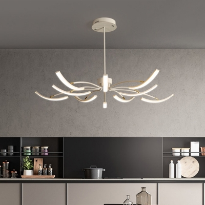 Metal Curve Adjustable Chandelier Nordic Style White LED Suspended Lighting Fixture