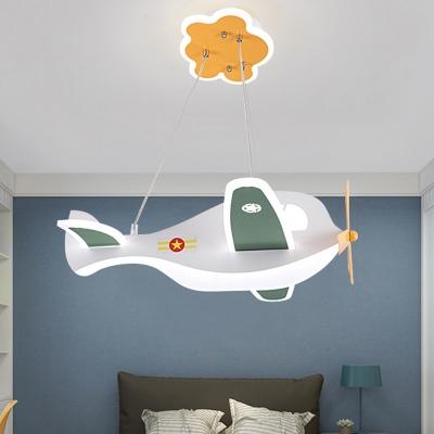White Plane LED Chandelier Cartoon Acrylic Suspension Light Fixture for Kids Room