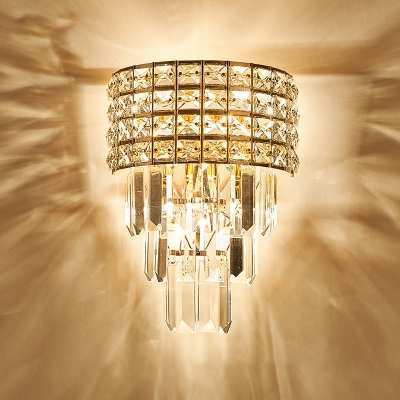 Clear Crystal Tiers Flush Wall Sconce Luxurious Modern 3-Light Wall Lamp for Bedroom