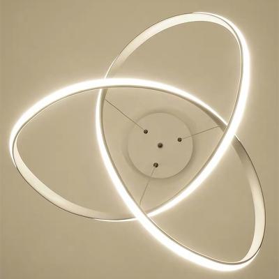 White Twisting LED Suspension Light Art Deco Acrylic Pendant Chandelier for Restaurant