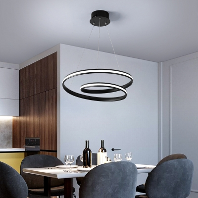 Curled Hanging Pendant Light Minimalist Acrylic LED Ceiling Chandelier for Dining Room