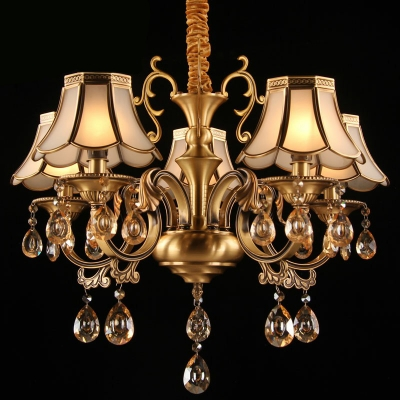 Gold Floral Flared Chandelier Traditional Frosted Glass Living Room Ceiling Light with Crystal Drops