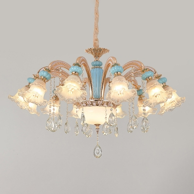 Light Blue Flower Chandelier Transitional Frosted Glass Living Room Ceiling Light with Crystal Decor