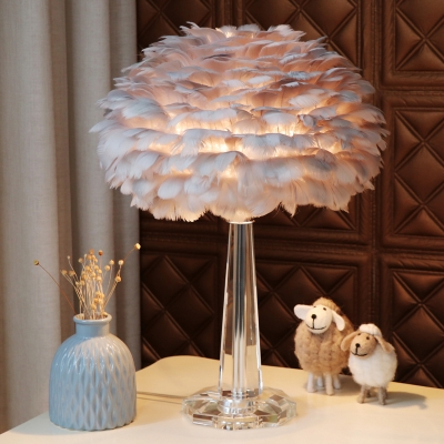 Rose Flower Table Light Nordic Feather 1-Light Bedside Night Light with K9 Crystal Stand