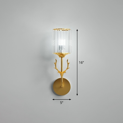 Prismatic Crystal Cylindrical Wall Lamp Minimalist Bedroom Sconce Light with Antler Decor