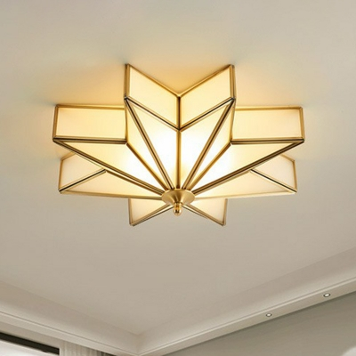 4-Bulb Frosted Glass Flush Mount Lighting Simplicity Gold Anise Star Bedroom Ceiling Light