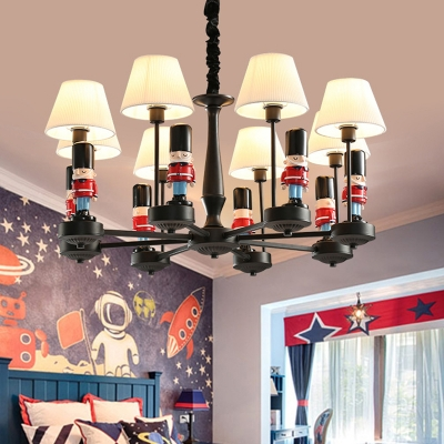 Black-Red Soldier Chandelier Cartoon Resin Hanging Light with Pleated Fabric Shade for Child Room