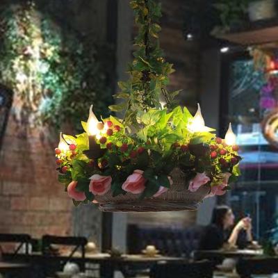 Botanic Basket Hanging Light Loft Style Metal Chandelier Pendant Light for Restaurant Decoration