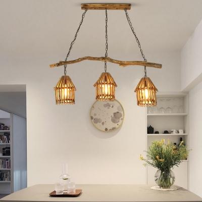 Hut Shaped Island Light Fixture Lodge Wooden 3-Light Dining Room Hanging Pendant