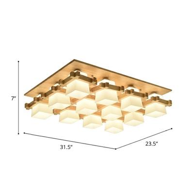 Quad Shaped Dining Room Ceiling Fixture Ivory Glass Modern Semi Flush Light in Wood