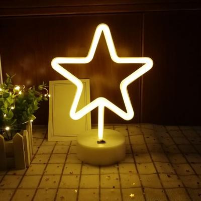 White Cartoon Battery Night Lamp Childrens Plastic LED Table Light for Bedroom Decoration