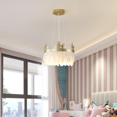 Crown Shaped Bedroom Chandelier Feather 2-Light Childrens Hanging Lamp with Crystal Deco