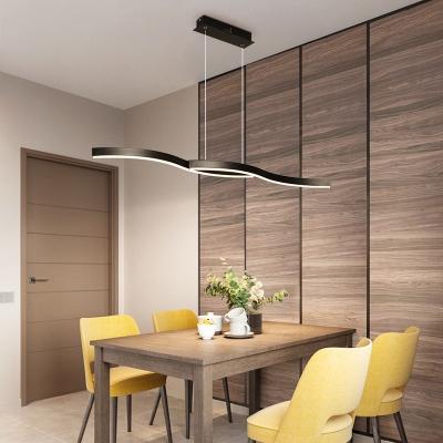 Flow Shape Dining Room Pendant Light Aluminum Minimalism LED Island Light Fixture