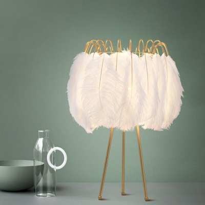 Postmodern Tripod Table Lamp Feather 1 Head Girls Room Night Light in Gold-White