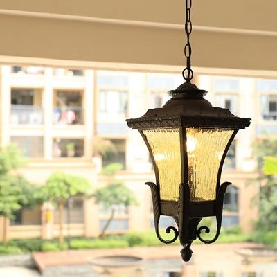 Single Rippled Glass Suspension Lamp Vintage Coffee Pagoda Shaped Patio Hanging Light