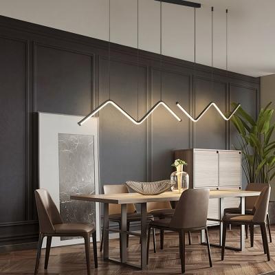 Zigzag Shaped LED Island Lamp Minimalist Metal Dining Room Suspension Pendant Light