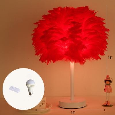 Dome Nightstand Light Minimalistic Feather Single-Bulb Girls Bedroom Table Light