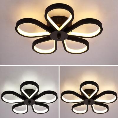 Aluminum Flower Flush Mount Lamp Modern LED Black Semi-Flush Ceiling Light for Aisle