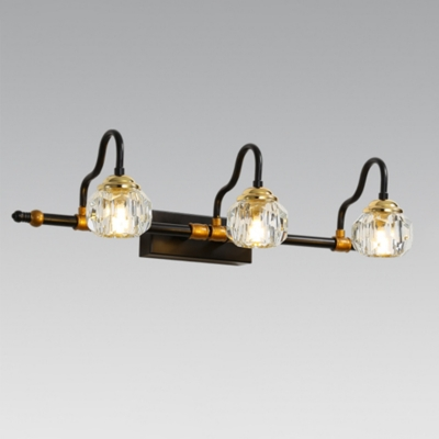 Diamond Wall Light Fixture Contemporary Faceted Crystal 1/2/3-Light Bedroom Wall Lamp in Black with Curved Arm