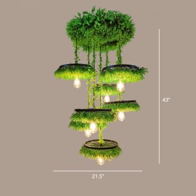 Rustic Plant Pendant Ceiling Light Metallic Suspension Lighting Fixture for Jazz Bar