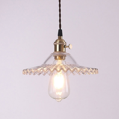 Glass Radial Wave Drop Pendant Loft Style 1 Bulb Restaurant Hanging Light Fixture