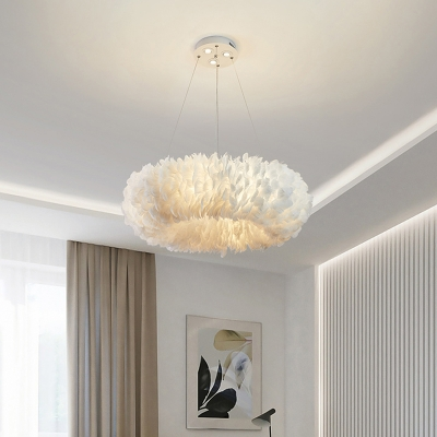Hand-Woven Circular Feather Chandelier Minimalist White Pendant Light Fixture for Bedroom
