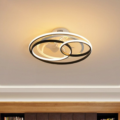 Round LED Ceiling Fan Light Simplicity Metal Bedroom Semi Flush Mount Light with Remote