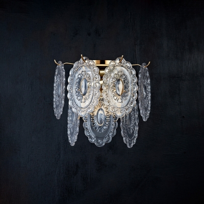 Oval Clear Carved Glass Sconce Lamp Minimalist 3-Bulb Gold Wall Lighting Fixture