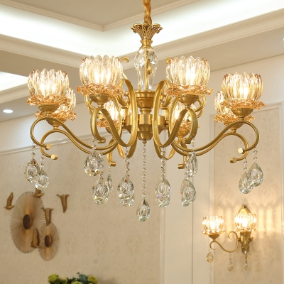Amber Crystal Glass Lotus Chandelier Traditional Style Living Room Ceiling Light with Scroll Arm in Gold
