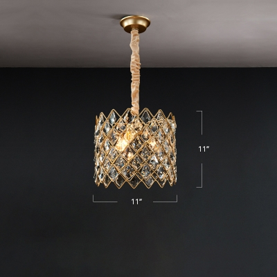 Lattice Stainless Steel Pendant Light Fixture Postmodern 1 Head Gold Ceiling Light with Leaf Shaped Crystal Deco