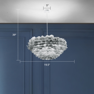 Multi-Layered Feather Pendant Lighting Nordic 1 Bulb Suspension Lamp for Dining Room