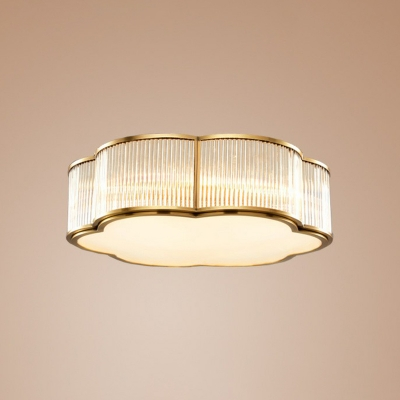 Minimalist Flower Flush Ceiling Light Clear Rib Glass Flush Mount Light Fixture in Gold