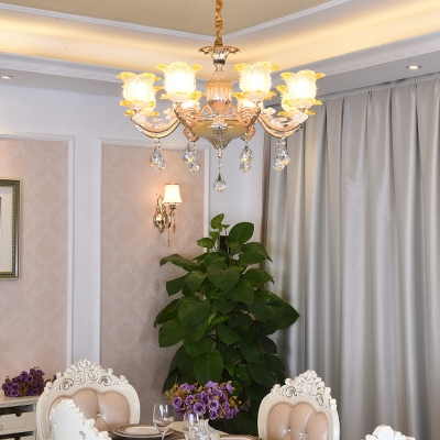 Traditional Flower Blossom Chandelier Amber Glass Hanging Ceiling Light with Decorative Crystals