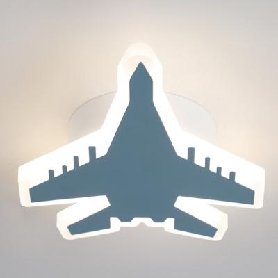 Acrylic Plane Shaped Ceiling Lamp Kids Style LED Flush Mount Fixture for Boys Bedroom