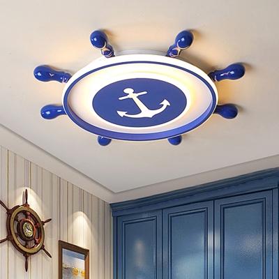 Marine Rudder Kids Bedroom Flush Light Acrylic Mediterranean LED Ceiling Mount Fixture in Blue