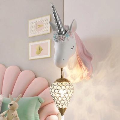 Unicorn Head Wall Lamp Kids Resin 1 Head Girls Room Wall Mount Light with Teardrop Crystal Shade