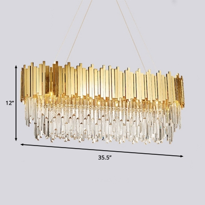 Modern Rectangle Pendant Light 8/12/16 Lights Clear Crystal Chandelier with Adjustable Cord in Gold