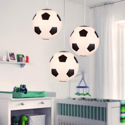 Football Shade Suspension Light Black and White Glass 1 Bulb Pendant Lamp for Boy's Bedroom