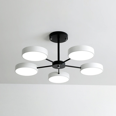 Metal Drum Shade Chandelier Contemporary Ceiling Pendant Light for Living Room in 3 Colors Light