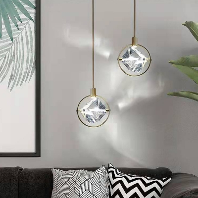 Clear Crystal Square Pendant Light Kitchen Bathroom 1 Head with Golden Ring Traditional Hanging Light