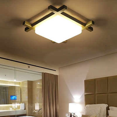 Square Study Room LED Ceiling Mount Light with White Glass Shade Wood Japanese Style Ceiling Fixture