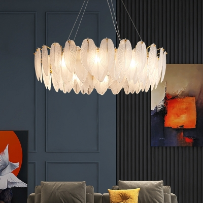 Clear Textured Glass Leaf Chandelier Contemporary 9.5 Inchs Height Hanging Light Kit