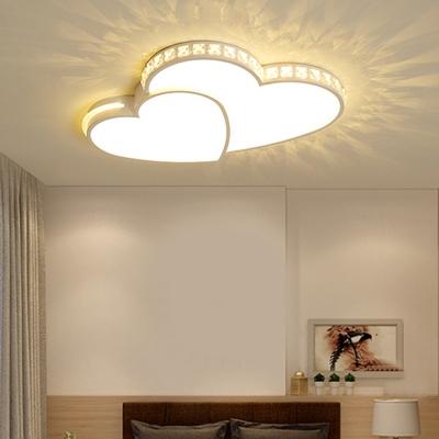 Crystal Decoration Kids Bedroom Flushmount Ceiling Fixtures White Metal Hearts Form LED 2-Light Ceiling Lights