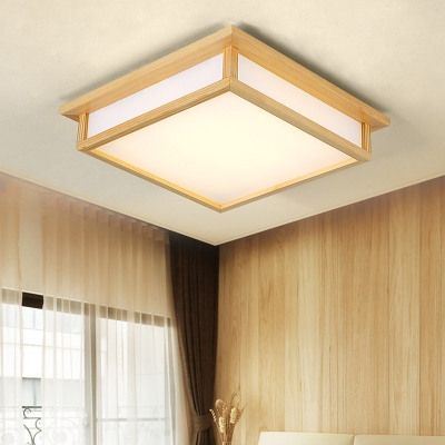 Wooden Hollow Square Ceiling Mount Light Living Room Asian Style LED Ceiling Lamp