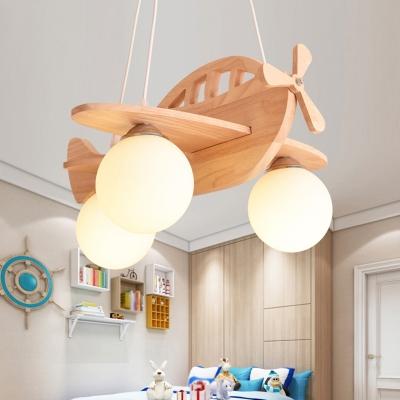 Creative Wooden Biplane Hanging Chandelier Nursing Room Children 3 Lights Suspended Light
